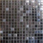 mosaique salle de bain noir metal